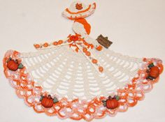 Fall Theme Crinoline Lady Hand Crochet Doily in White & Orange w Pumpkins. Found this completed doily on eBay. For inspiration.