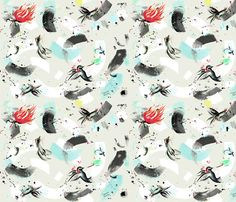 finch_and_hummingbird fabric by sandie_tee on Spoonflower - custom fabric Sandie_Tee designs