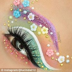 overdose eye make up style inspiration Colourful eyebrow flowers rainbow Please choose cruelty free vegan products brands and parent companies that dont test on animals o. Eye Makeup Designs, Eye Makeup Art, Colorful Eye Makeup, Eye Art, Pastel Goth Makeup, Fun Makeup, Photo Makeup, Makeup Eyes, Make Up Looks