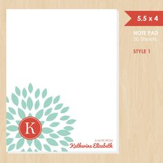 Personalized Note Pad // Teal Blooming Blossom with Monogram by k8inked, $14.00
