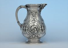 William Gale for Tiffany & Co antique sterling silver pitcher, c1850's (spencermarks)