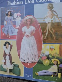 Barbie Dolls Crocheted Fashion Doll Clothes Leisure Arts Leaflet 268 Mattel Inc. Crochet Doll Pattern, Crochet Dolls, Crochet Patterns, Cool Patterns, Vintage Patterns, Doll Wardrobe, Crochet Doll Clothes, Costume Patterns, Doll Crafts