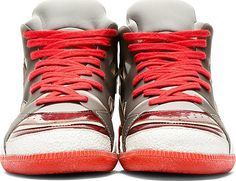 Maison Martin Margiela - Grey & Red Rubber-Paneled Neo Sneakers | SSENSE
