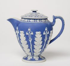 Ewer and Cover  Made by the Wedgwood factory, Etruria, England, 1759 - present  Geography: Made in Etruria, Stoke-on-Trent, Staffordshire, England, Europe Date: Late 18th century Medium: Stoneware with relief decoration (Jasper ware)