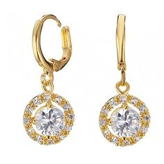 CSDB 18K Yellow Gold Filled Jewelry Diamond Dangle Earrings Stylish Earings ** Want additional info? Click on the image. Note:It is Affiliate Link to Amazon.