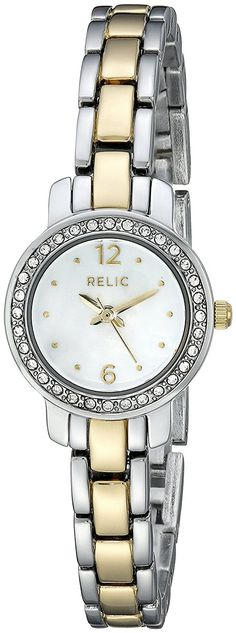 Relic Women's Jenna Micro Glitz Silver & Gold Two-Tone Watch. Case diameter: Water resistant to 99 feet. Relic Watches, Watch Bands, Chronograph, Fossil, Rolex, Quartz, Silver, Accessories, Image Link
