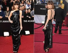 Rose Byrne shows that black doesn't mean drab in this stunning sequined Vivienne Westwood paired with Chanel jewelry