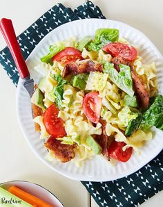 Raise your hand if you adore salad. That's because you haven't met BLT pasta salad. It combines all of the crunchy, savory and creamy ingredients of the classic sandwich—minus, well, the bread (because pasta is way more fun). Easy Dinner Recipes, Pasta Recipes, Salad Recipes, Cooking Recipes, Dinner Ideas, Easy Dinners, Baby Recipes, Cooking Food, Cooking Kids