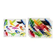 """IKEA KLISTRIG Place mat, bird 4 pack by HOMESUPPLIES. $5.99. IKEA KLISTRIG Place mat, bird 4 pack !!!!   Product description:   BRAND: IKEA   Polypropylene   Product dimensions:   Length: 11 """" Width: 14 """" Package quantity: 4 pack   Care instructions   Wipe clean with a damp cloth. . Package included: Package quantity: 4 placemat"""