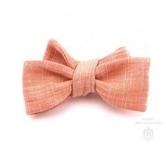 Bow Tie in Solid Orange Textured Wool Linen Blend - Fort Belvedere