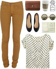 very cute outfit mustard pants, dotted shirt & brown clutch Mode Outfits, Casual Outfits, Fashion Outfits, Womens Fashion, Fashion Trends, Look Fashion, Autumn Fashion, Mustard Pants, Mustard Jeans Outfit