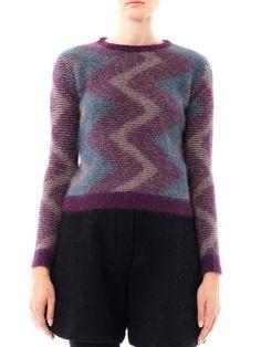 Carven Zigzag Angora Sweater in Purple - Lyst
