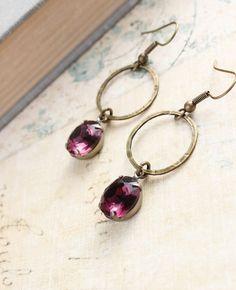 Dangle Earrings Clear Purple Amethyst Drop by apocketofposies