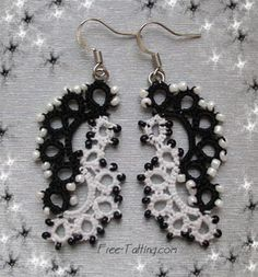 tatted earrings (and a necklace)  free pattern  I really need to learn how to do this