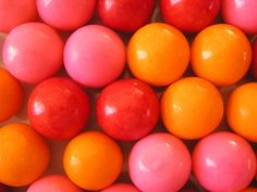Gum balls, wedding reception, candy bar, orange and pink wedding