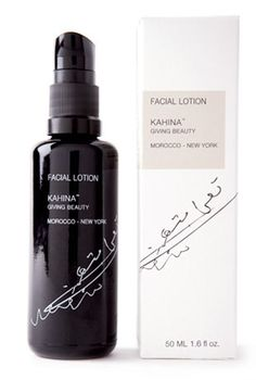 Kahina Facial Lotion: Combines high concentrations of 100% organic argan oil with other naturally beneficial ingredients including organic shea butter, sodium hyaluronate + organic beeswax {kahina-givingbeauty.com}