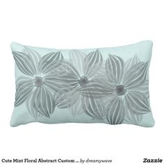 Cute Mint Floral Abstract Custom Lumbar Pillow
