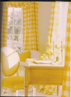 yellow Buffalo check curtains, My wee yellow desk is just right for writing letters and prose.so sunny and bright.
