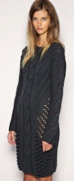 Asos - Grey Hand Knit Cable Dress