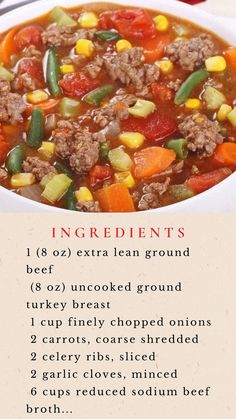 Beef Soup Recipes, Vegetable Soup Recipes, Ground Beef Recipes, New Recipes, Crockpot Recipes, Dinner Recipes, Cooking Recipes, Healthy Recipes, Pasta Recipes