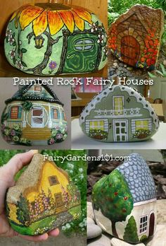 Here are some cute new painted rock fairy houses. Top Left: A sunflower roof makes this painted rock fairy house unique. Top Right: Another painted rock fairy house, but this one looks very medieval. Middle Left: A Victorian painted rock … Continued Rock Painting Ideas Easy, Rock Painting Designs, Painting Patterns, Painting For Kids, House Painting, Art Designs, Painting Lessons, Painting Art, Design Ideas