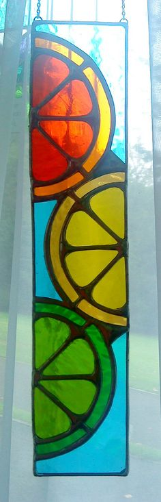 Juicy Fruit! Bright & Zingy Citrus Lemon Orange Lime Stained Glass Suncatcher Panel