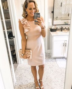 Love this blush pink dress I wore to our school auction fundraiser last night. Love the one shoulder look, so flattering. This exact dress is no longer available, but I've linked several similar blush pink dresses if you like this look! #cocktaildress #pinkdress #macys #weddingstyle #cocktailattire #stelladotstyle