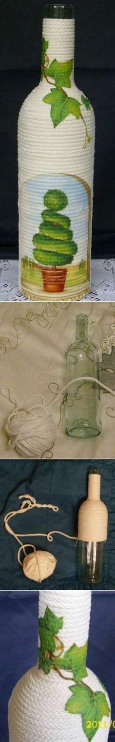 Декор бутылки шнуром и салфеткой. Мастер-класс.