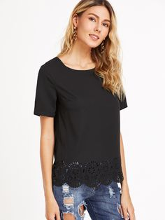 Online shopping for Black Laser Cutout Scallop Hem Top from a great selection of women's fashion clothing & more at MakeMeChic.COM.