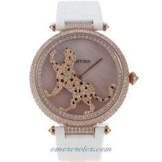660d28a9c Cartier Panthere de Cartier Rose Gold Case Full Diamond Bezel with Pink MOP  Dial Leather Strap For Man Size