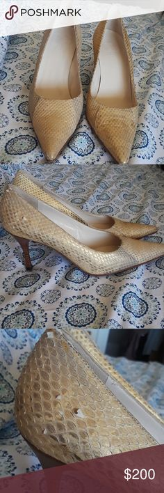 Authentic Gucci Snakeskin Gold Pumps 8 In like new condition worn two times, it has a flaw on the right side shoe some of the snake skin is peeling  or lifting up look at pick.great quality shoes Gucci Shoes Heels