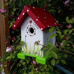 "Vogelhaus souvenir ""Käferchen"" for the wedding of Holzallerliebst on DaWanda. Decorative Bird Houses, Bird Houses Painted, Bird Houses Diy, Birdhouse Designs, Diy Bird Feeder, Garden Deco, Bird Boxes, Backyard For Kids, Yard Art"