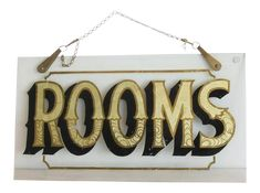"""Antique Reverse Painted Glass """"Rooms"""" Sign on Chairish.com Vintage Coffee Signs, Vintage Tin Signs, Antique Signs, Directory Signs, Vintage Bakery, Craft Images, Glass Room, Vintage Laundry, Porcelain Signs"""