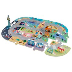 Connect the foam floor tiles any way you want then take a ride with Robin.  With Robins Road Trip Puzzle Mat, you can build a town, a long highway or a winding road.  Ages 3 and up.