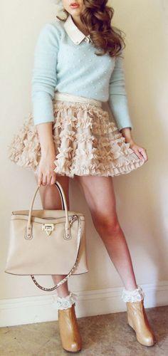 Mi OUTFIT! Ruffle Tutu & Pearl Beaded Sweater