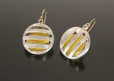 Pick-A-Boo Earrings by Sana Doumet: Gold and Silver Earrings available at www.artfulhome.com