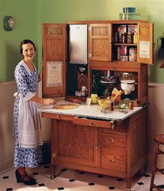 A Hoosier Cabinet From The Early Created More Efficient Kitchen Design With It S Built In Features Extra Storage And Additional Worke