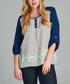 Another great find on #zulily! Ivory & Navy Lattice Button-Front Top - Plus by Tua Plus #zulilyfinds