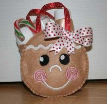 In The Hoop Gingerbread Gift Bag Embroidery Machine Design