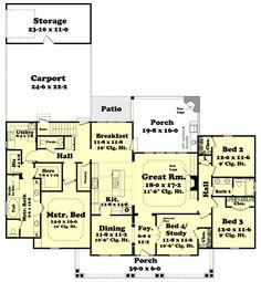 Country Style House Plan - 4 Beds 2.5 Baths 2420 Sq/Ft Plan #430-113 Floor Plan - Main Floor Plan - Houseplans.com
