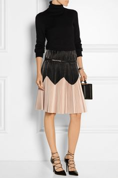Alexander McQueen | Pleated two-tone leather skirt | NET-A-PORTER.COM