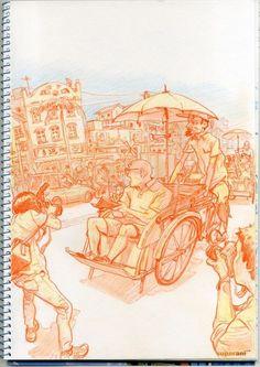 Kim Jung Gi Sketch Collection, News, and More! Figure Sketching, Figure Drawing, Junggi Kim, Drawing Scenery, Human Sketch, Drawing Sketches, Drawings, Sketches Tutorial, Kim Jung