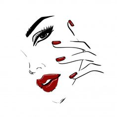 Outline face with red lips and nails Premium Vector