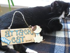 Attack Cat on duty sign Attack Dog on duty by Back40SignzTexas, $10.00