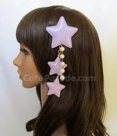 Lavender Fairy Kei Star Hair Clip/Brooch with White Pearls- Lolita Fairy Kei Decora Shooting Star Hair Accessory Kawaii Hairstyles, Hat Hairstyles, Kawaii Accessories, Hair Accessories, The Last Star, Star Hair, Goth Aesthetic, Kawaii Shop, Character Outfits