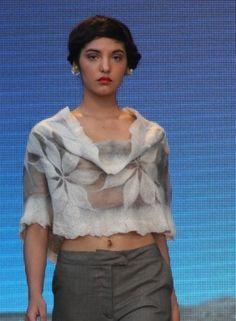 Carmen Eva. Idea for using a nuno-felted scarf, as a top.