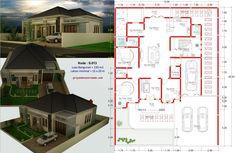 Gambar Denah Rumah 4 Kamar Tidur Type 150 1 Lantai Modern House Floor Plans, Modern Bungalow House, Dream House Plans, Minimalist House Design, Minimalist Home, Modern House Design, Conceptual Architecture, Architecture Plan, Home Room Design