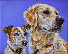 "Painting of two dogs in acrylics on 8"" x 10"" canvas by Simon Birtall."