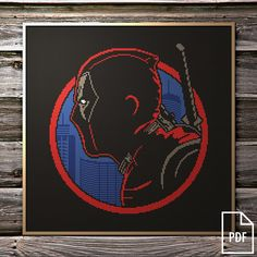 Deadpool Cross Stitch Pattern PDF FILE by Kaplio on Etsy