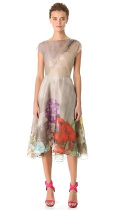 Lela Rose Full Skirted Drape Dress..  options options options...what to wear to a summer wedding...so pretty.